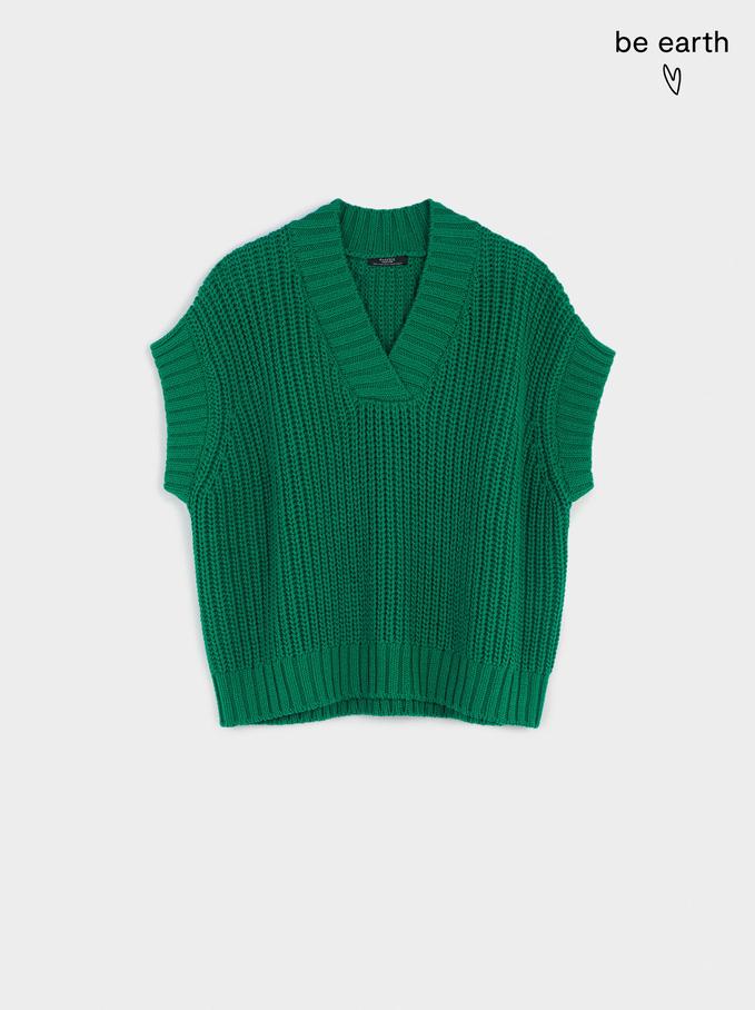 Gilet In Maglia Con Scollo A V, Verde, hi-res