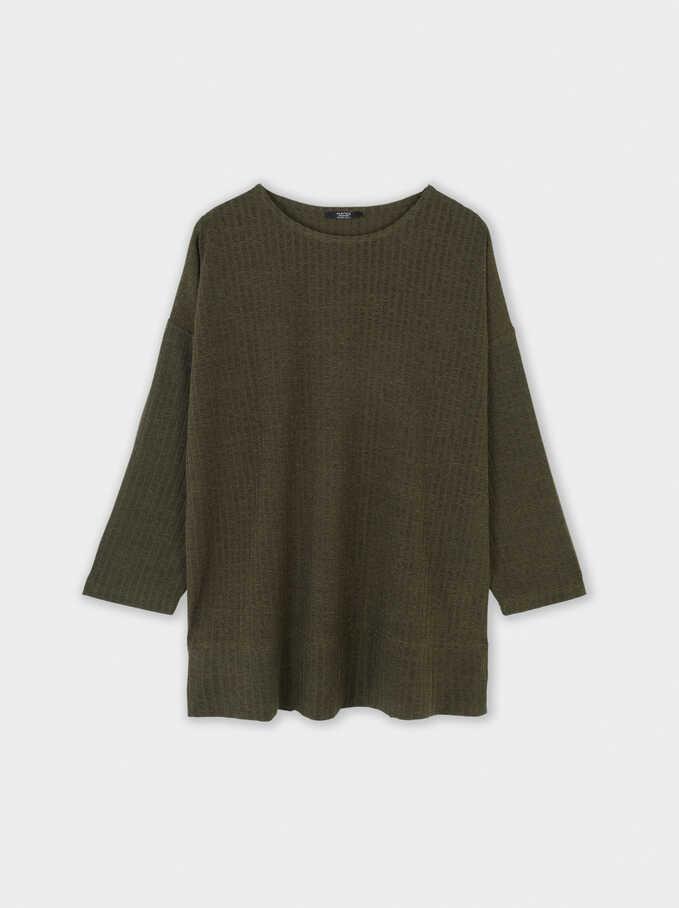 Ribbed T-Shirt, Khaki, hi-res