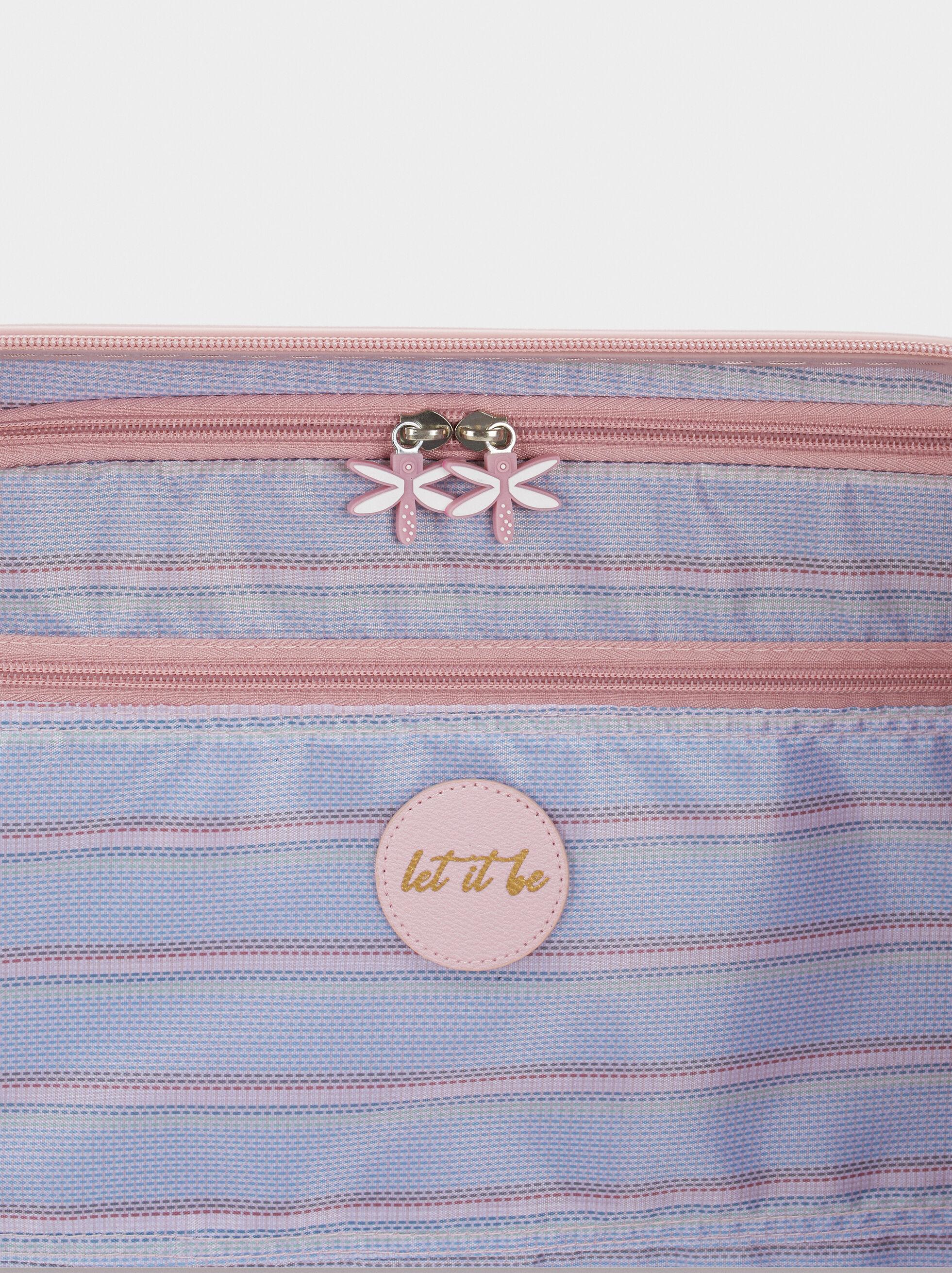 Floral Print Suitcase, Pink, hi-res