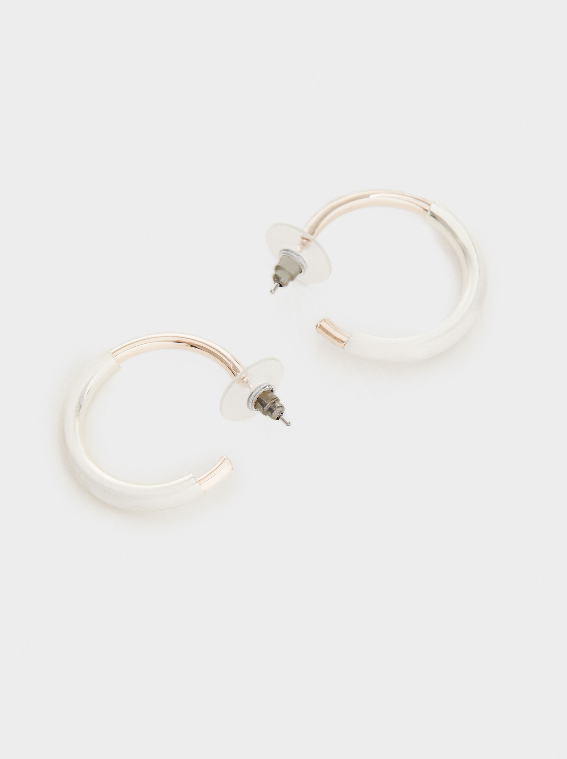 Two-Tone Hoop Earrings, Multicolor, hi-res