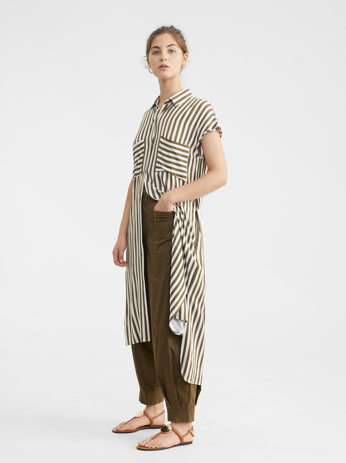 Striped Shirt Dress, Khaki, hi-res