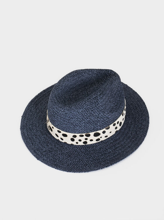 Hat With Contrast Band, Navy, hi-res