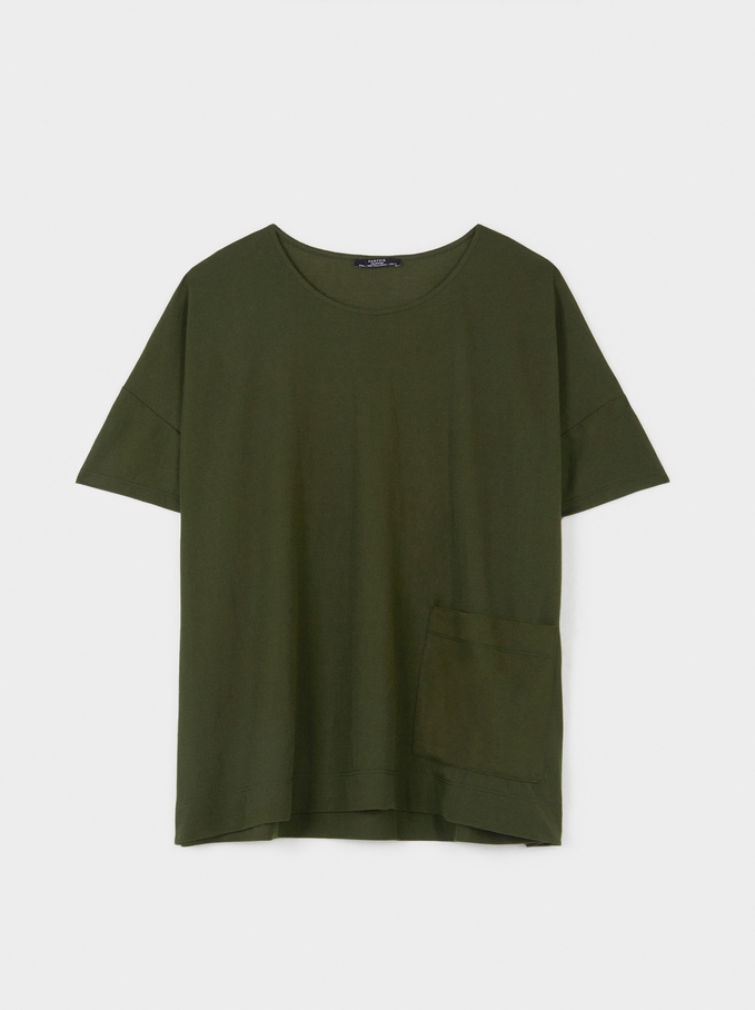 T-Shirt With Round Collar, Khaki, hi-res