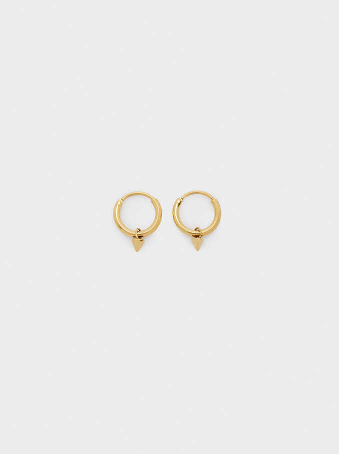 Gold Stainless Steel Short Earrings, Golden, hi-res