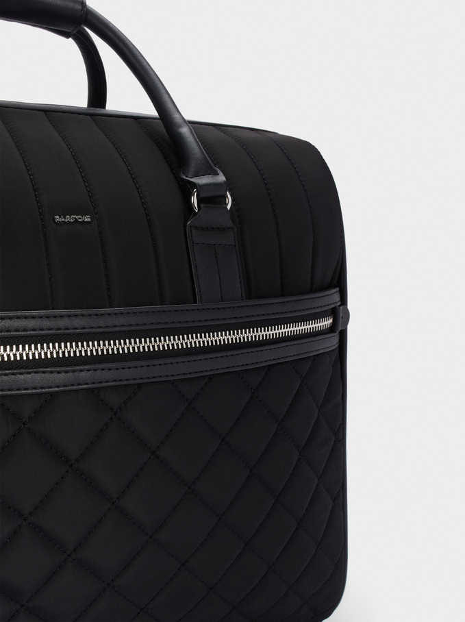 Quilted Nylon Trolley, Black, hi-res