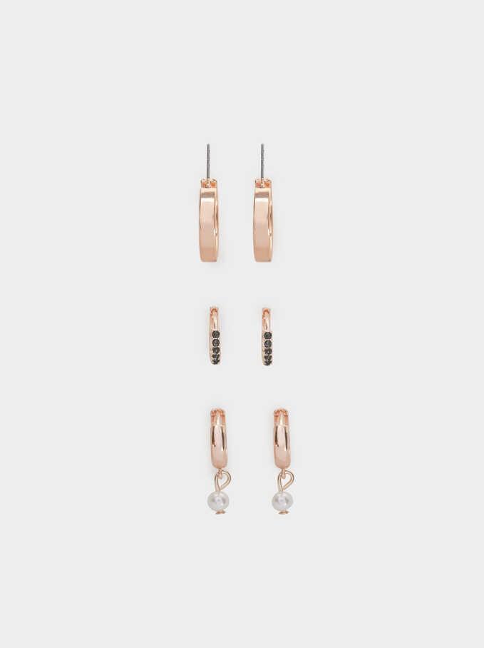 Set Of Pink Desert Small Hoop Earrings, Orange, hi-res