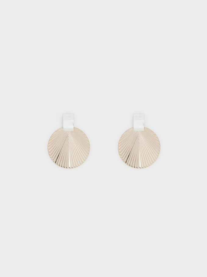 Circular Long Earrings, Silver, hi-res