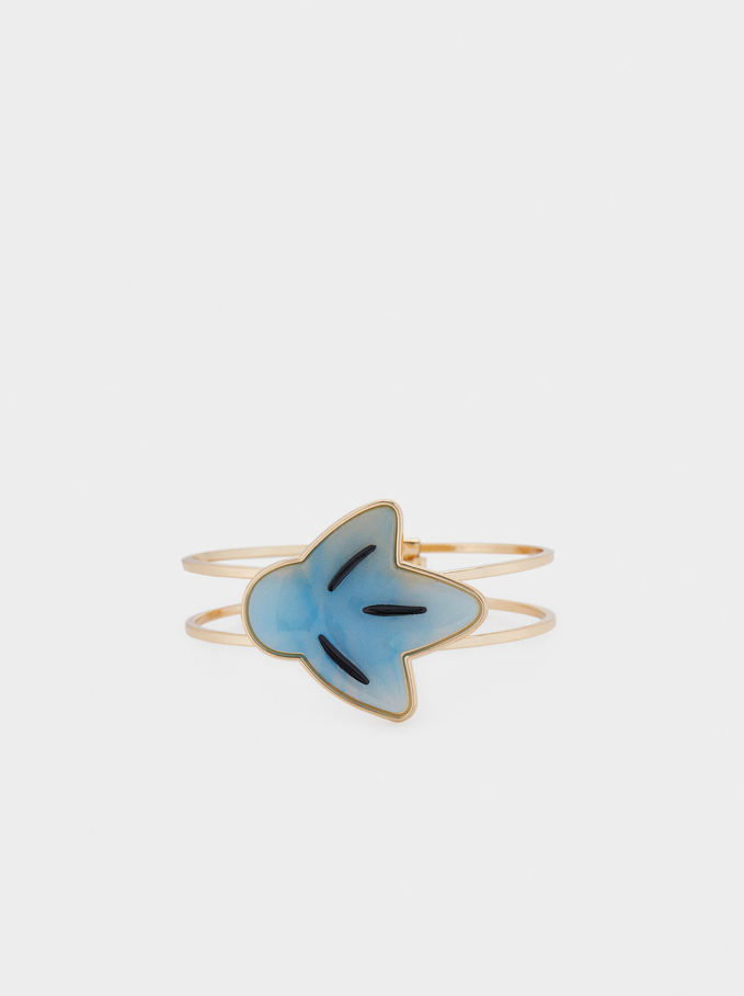Rigid Resin Bracelet, Blue, hi-res