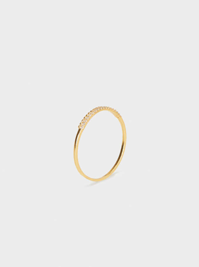 925 Sterling Silver Ring, Golden, hi-res