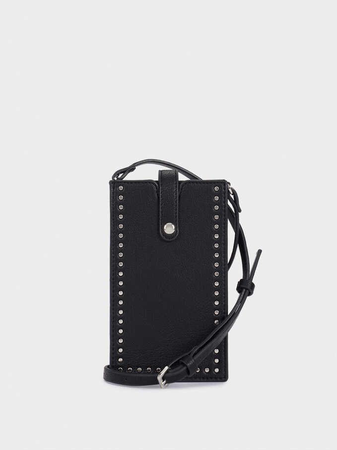 Mobile Phone Bag With Studded Detail, Black, hi-res