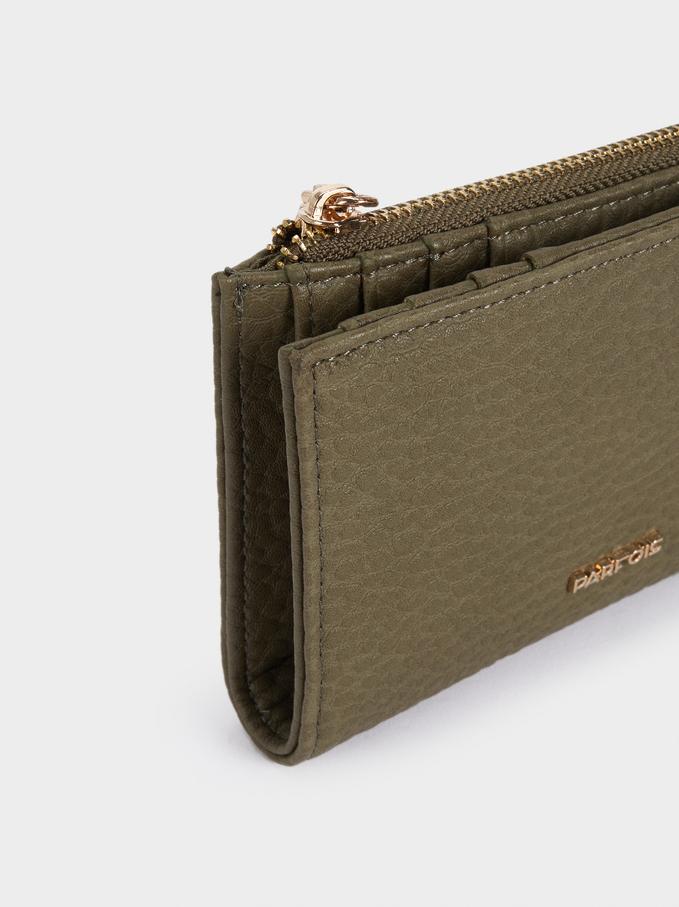 Embossed Wallet With Zip Fastening, Khaki, hi-res
