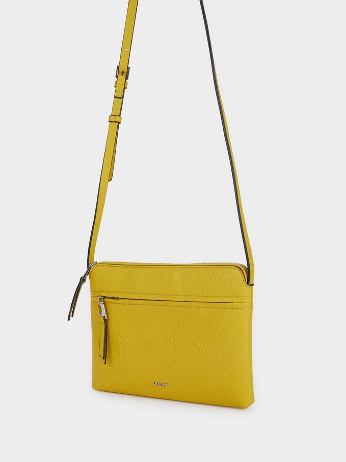 Shoulder Bag With Outer Pocket, Yellow, hi-res