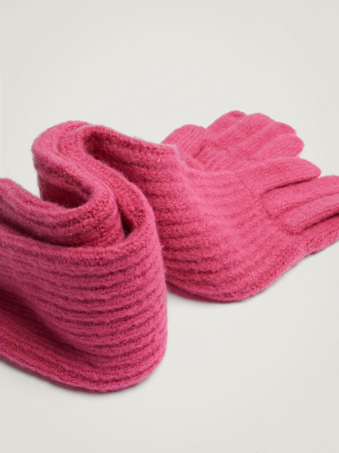 Knitted Gloves, Pink, hi-res