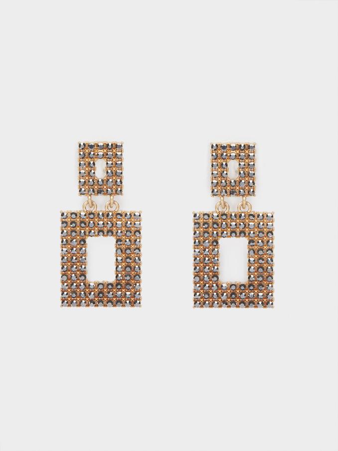 Crystals Earrings, Golden, hi-res