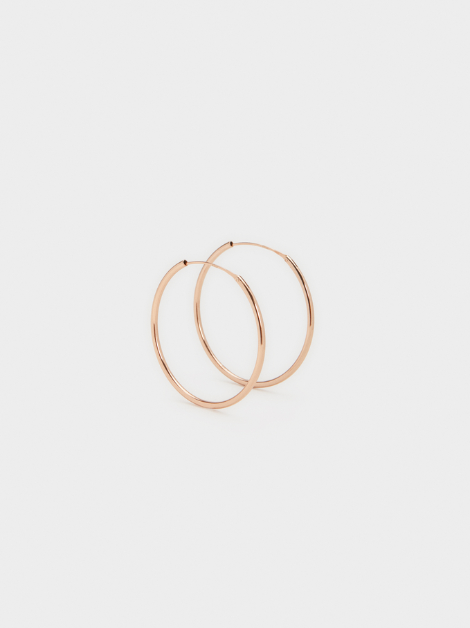 Basic 925 Silver Small Hoop Earrings, Orange, hi-res
