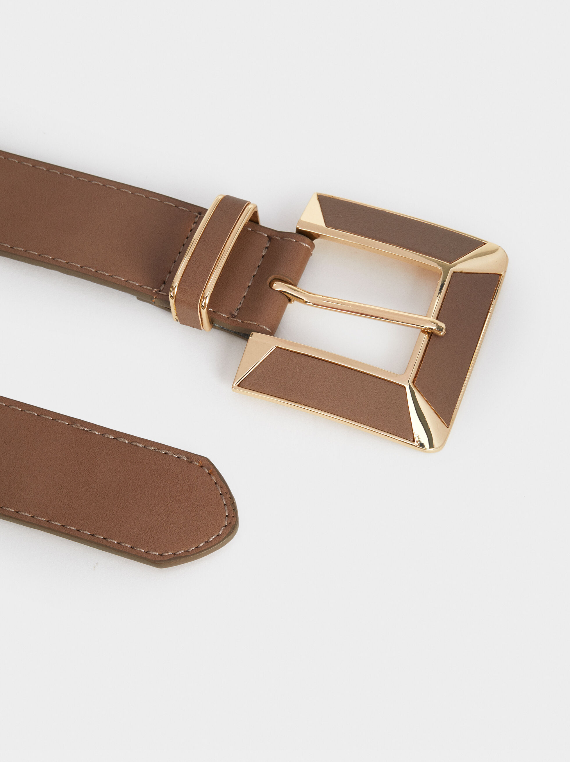 Belt With Square Buckle, Brown, hi-res