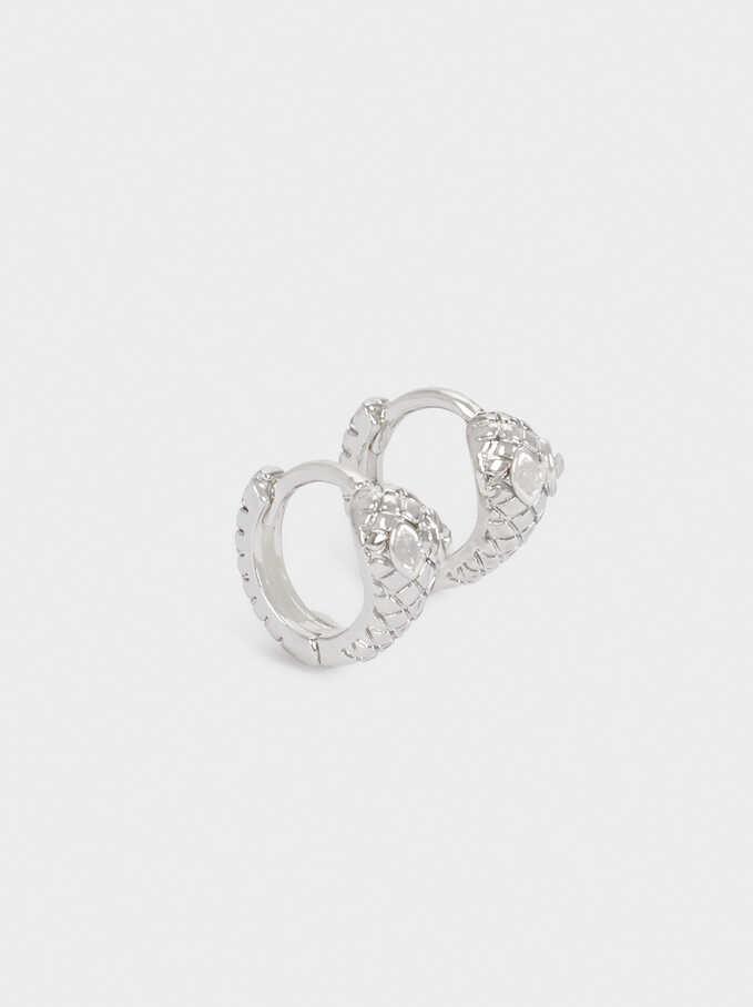 Set Of Short Snake Hoop Earrings, Silver, hi-res