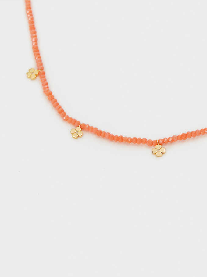 Short 925 Silver Shamrock Necklace, Coral, hi-res