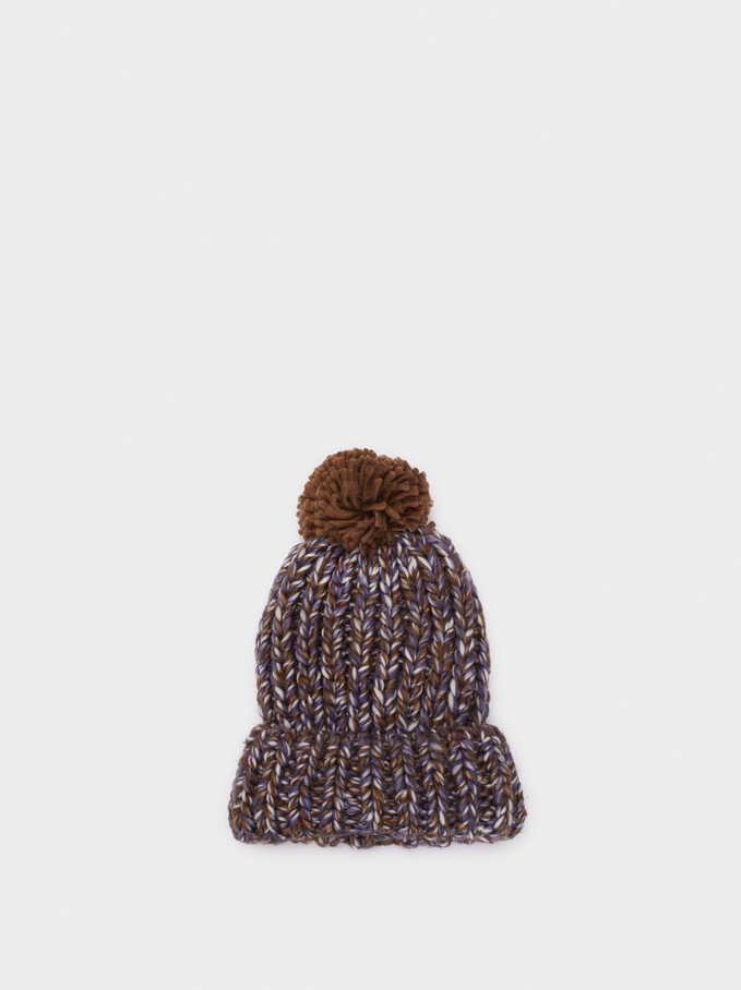 Pompom Beanie Knitted Hat, Khaki, hi-res