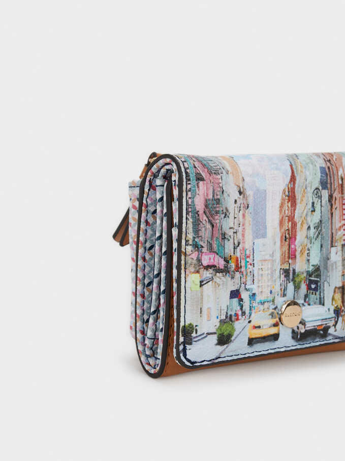 New York Print Purse, Camel, hi-res