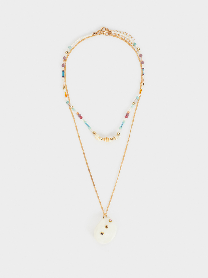 Set Of Contrasting Necklaces With Shell And Beads, Multicolor, hi-res