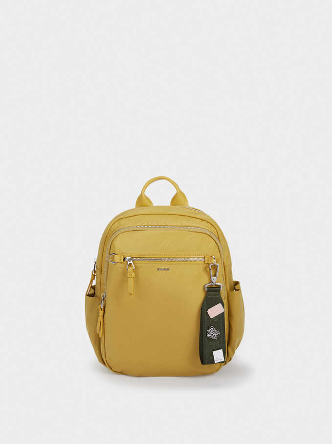 Nylon Backpack With Outside Pocket, Yellow, hi-res
