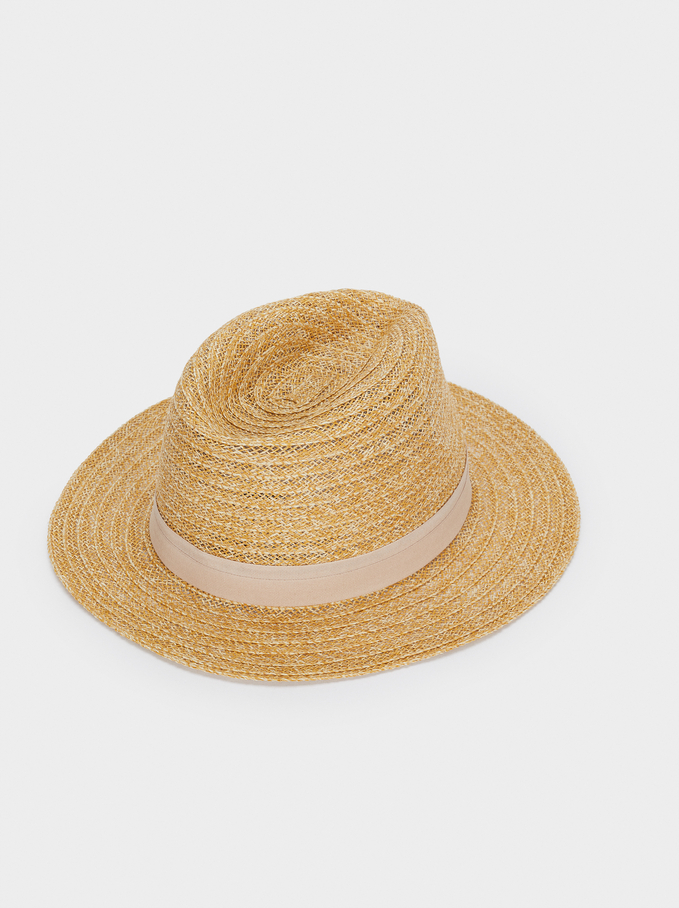 Cappello Texture In Rafia Con Nastro A Contrasto, Beige, hi-res