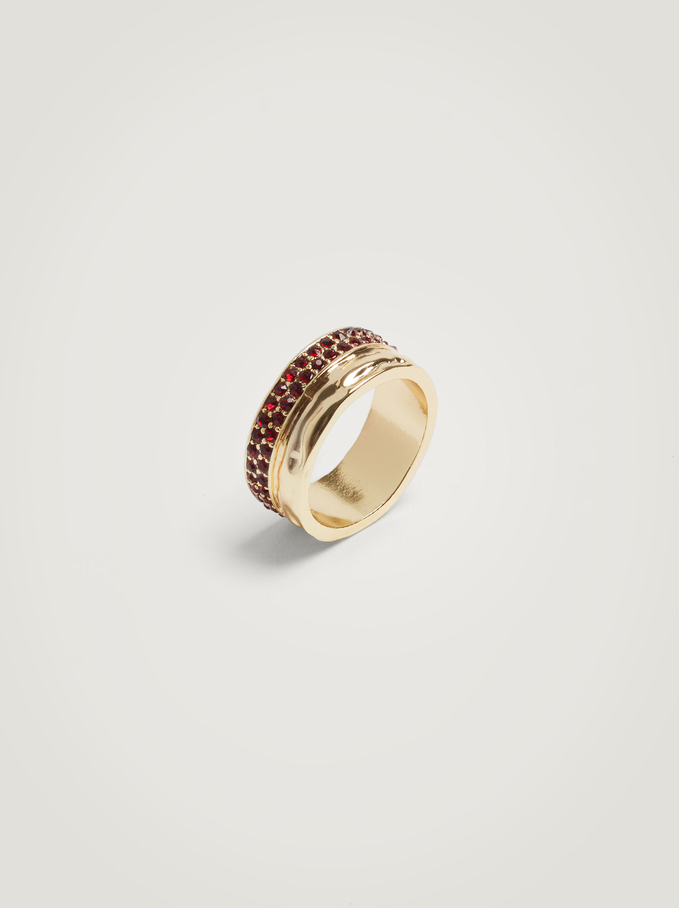 Wide Ring With Crystals, Bordeaux, hi-res