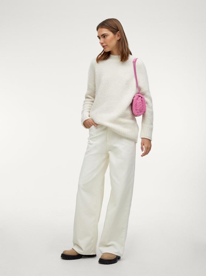 Knitted Perkins Neck Sweater, Ecru, hi-res