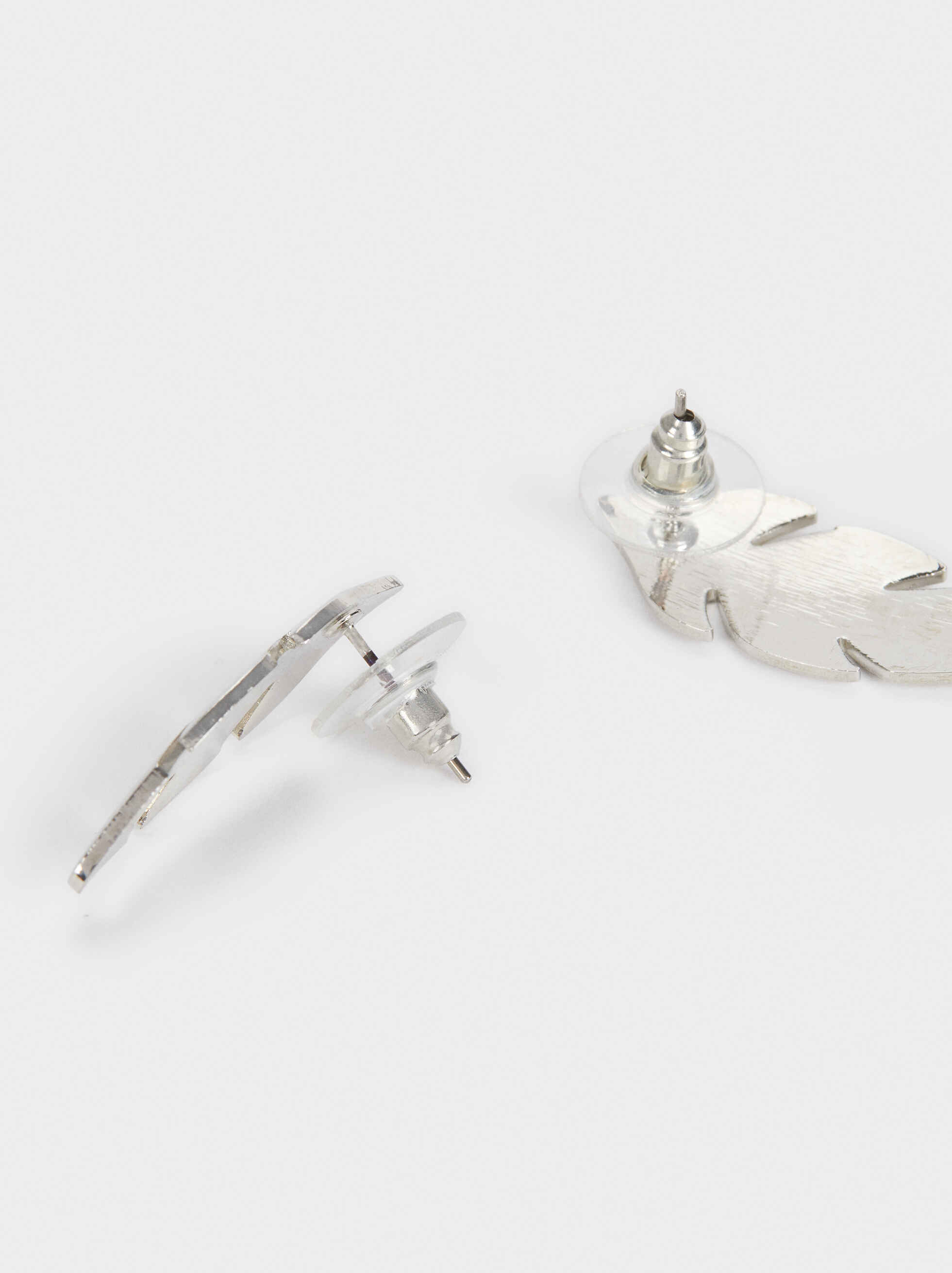 Silver-Plated Leaf Earrings, Silver, hi-res