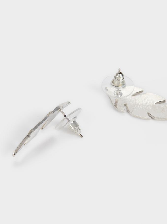 Leaf Earrings, Silver, hi-res