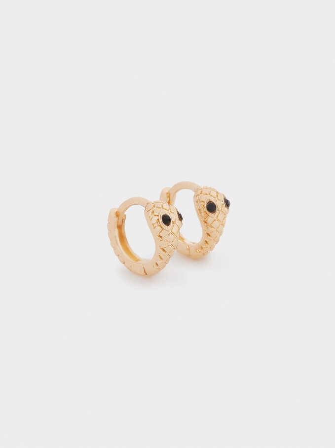 Small Snake Hoop Earrings, Golden, hi-res