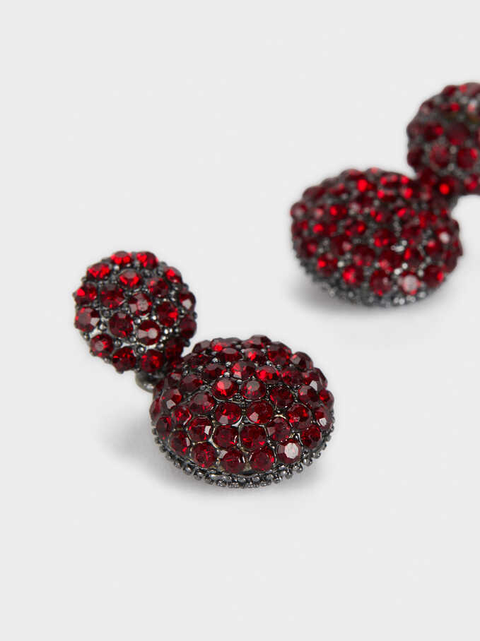 Small Earrings With Crystals, Bordeaux, hi-res