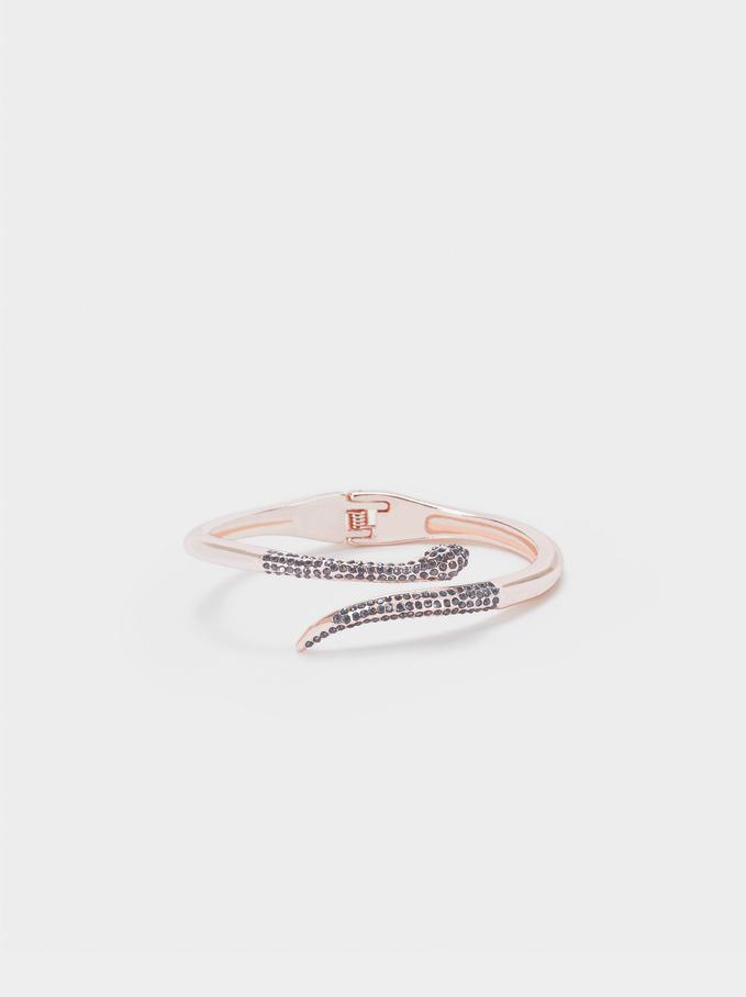 Rigid Bracelet With Snake, Orange, hi-res