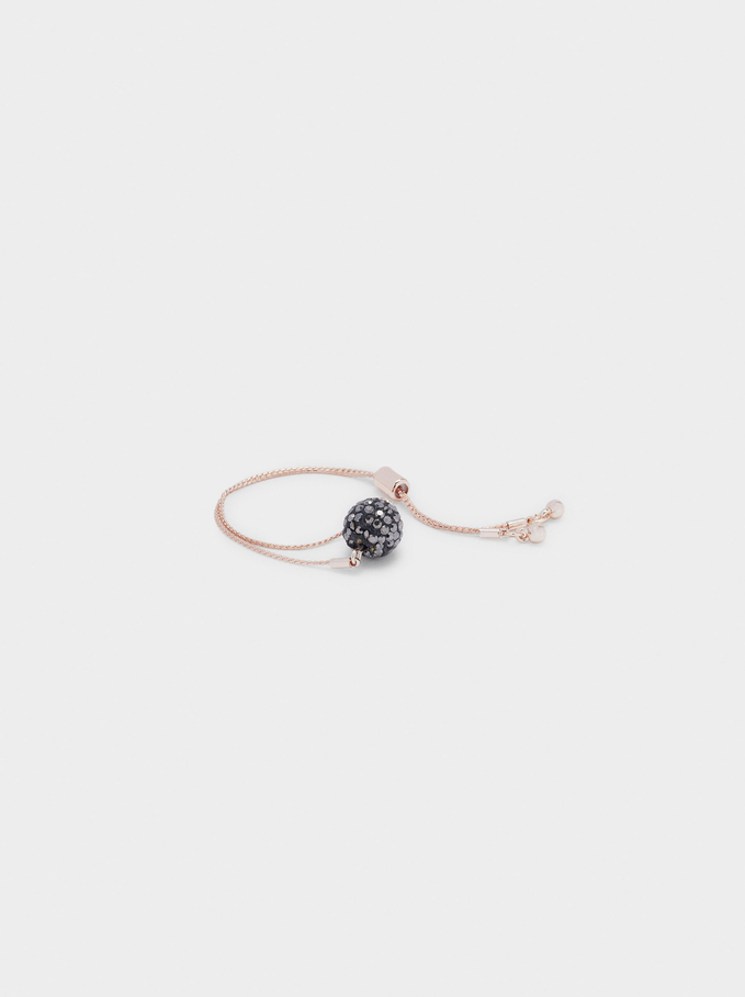 Adjustable Bracelet With Bead, Orange, hi-res