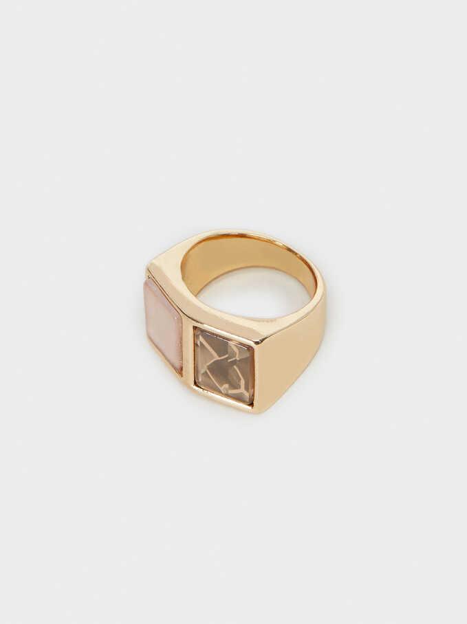 Gold Geometric Ring, Multicolor, hi-res