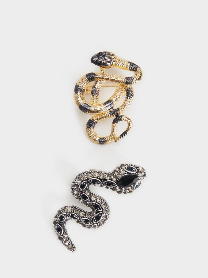 Set Of Serpent Brooches, Multicolor, hi-res