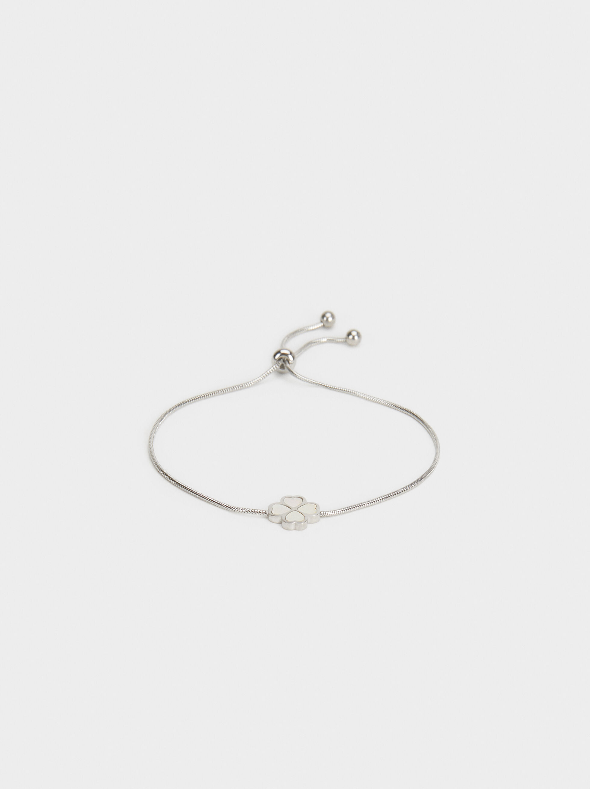 Adjustable Stainless Steel Bracelet With Cloverlea, Silver, hi-res