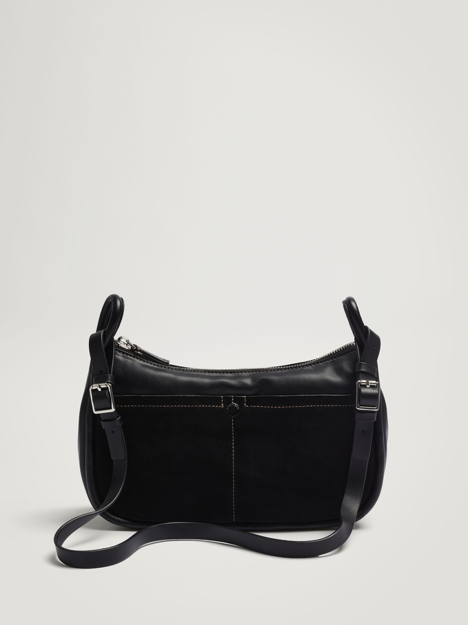 Contrast Suede Crossbody Bag, Black, hi-res