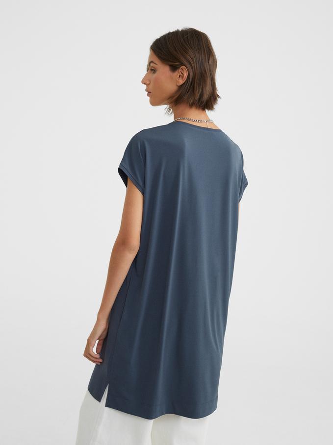 Vestito Oversize Scollo A V, Blu, hi-res