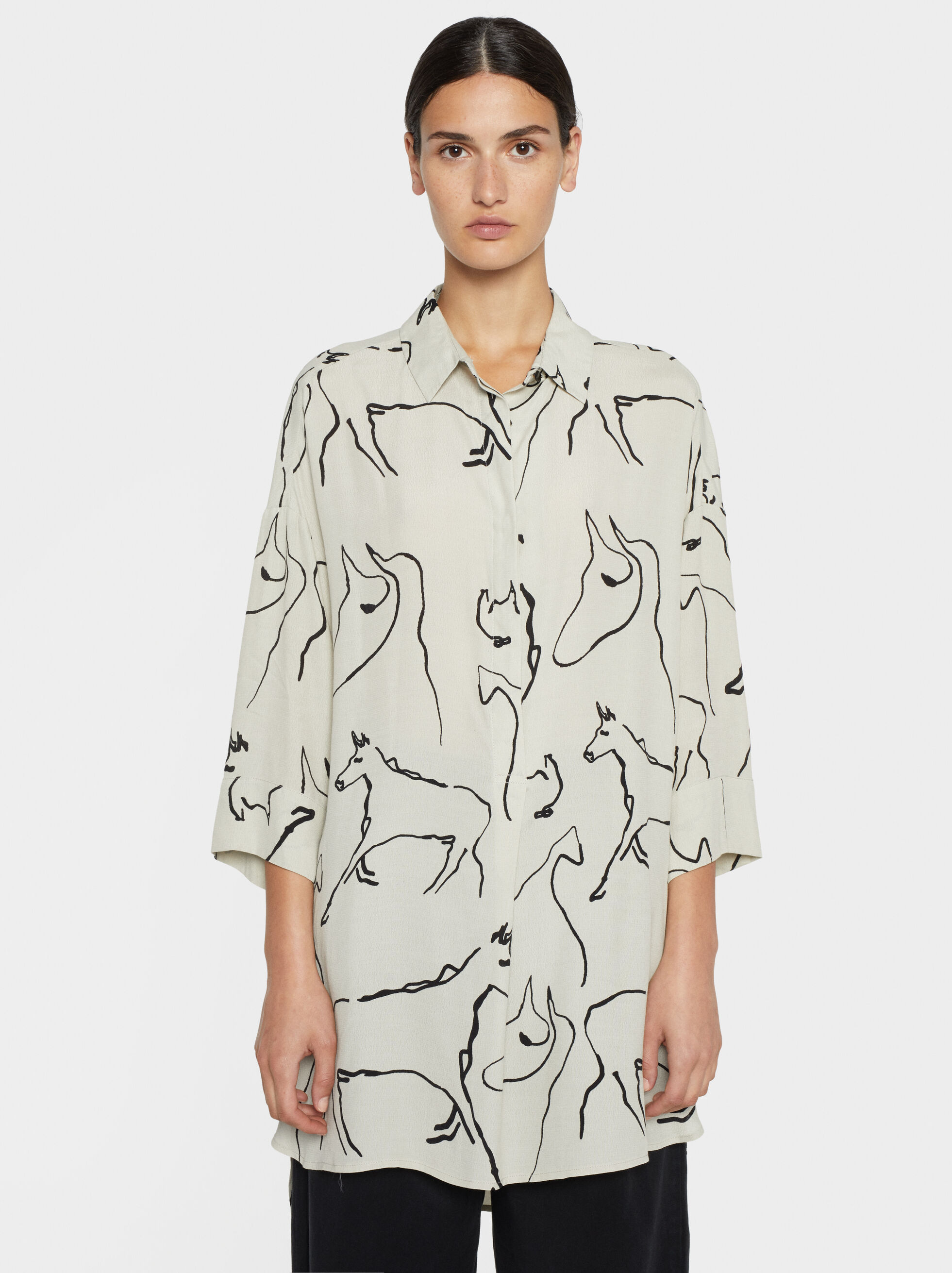 Horse Print Dress, Khaki, hi-res