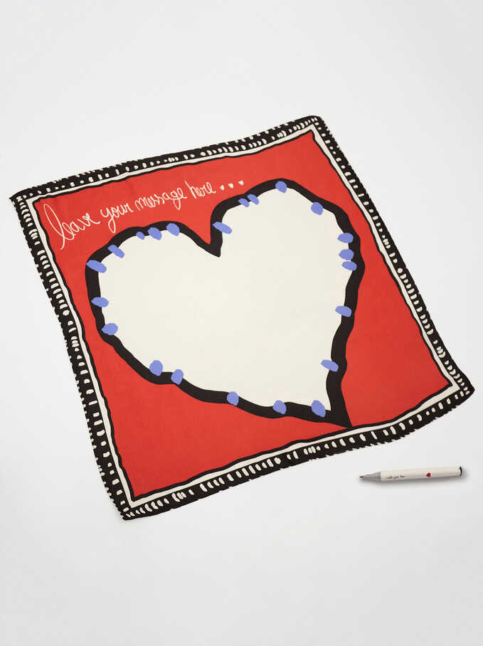 Customizable Scarf With Marker, Red, hi-res