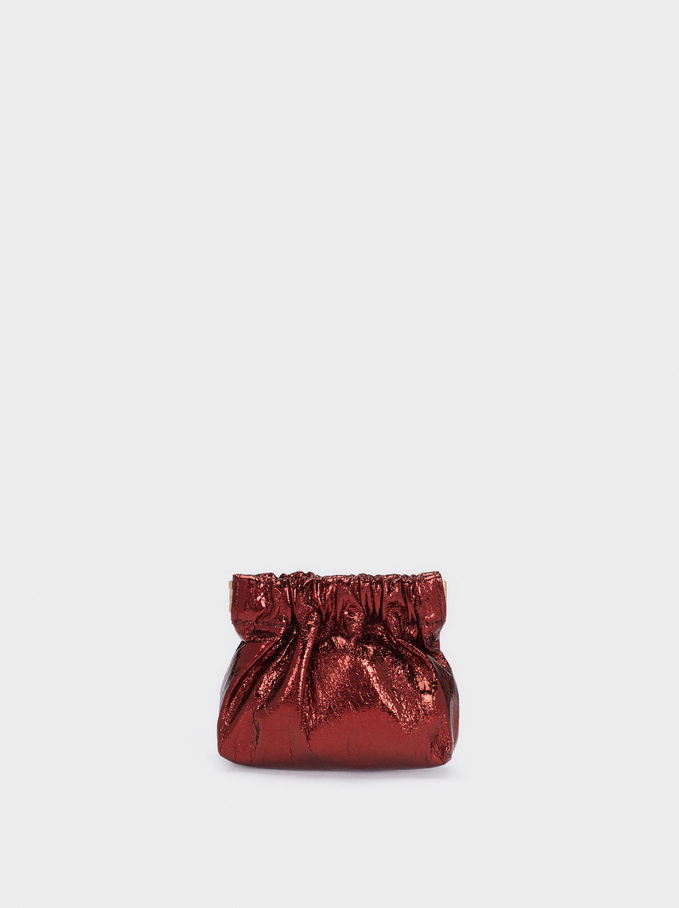 Metallic Coin Purse With Chain Handle, Red, hi-res