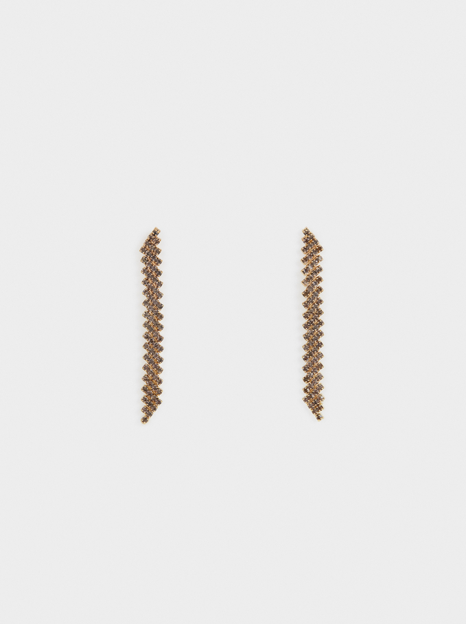 Long Golden Earrings, Golden, hi-res