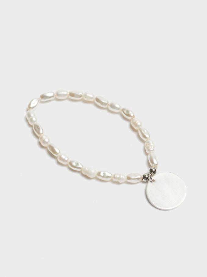 Elastic Bracelet With Pearls, White, hi-res