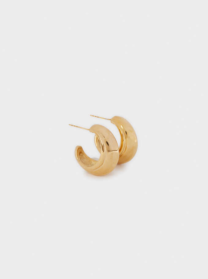 Stainless Steel Golden Hoop Earrings, Golden, hi-res
