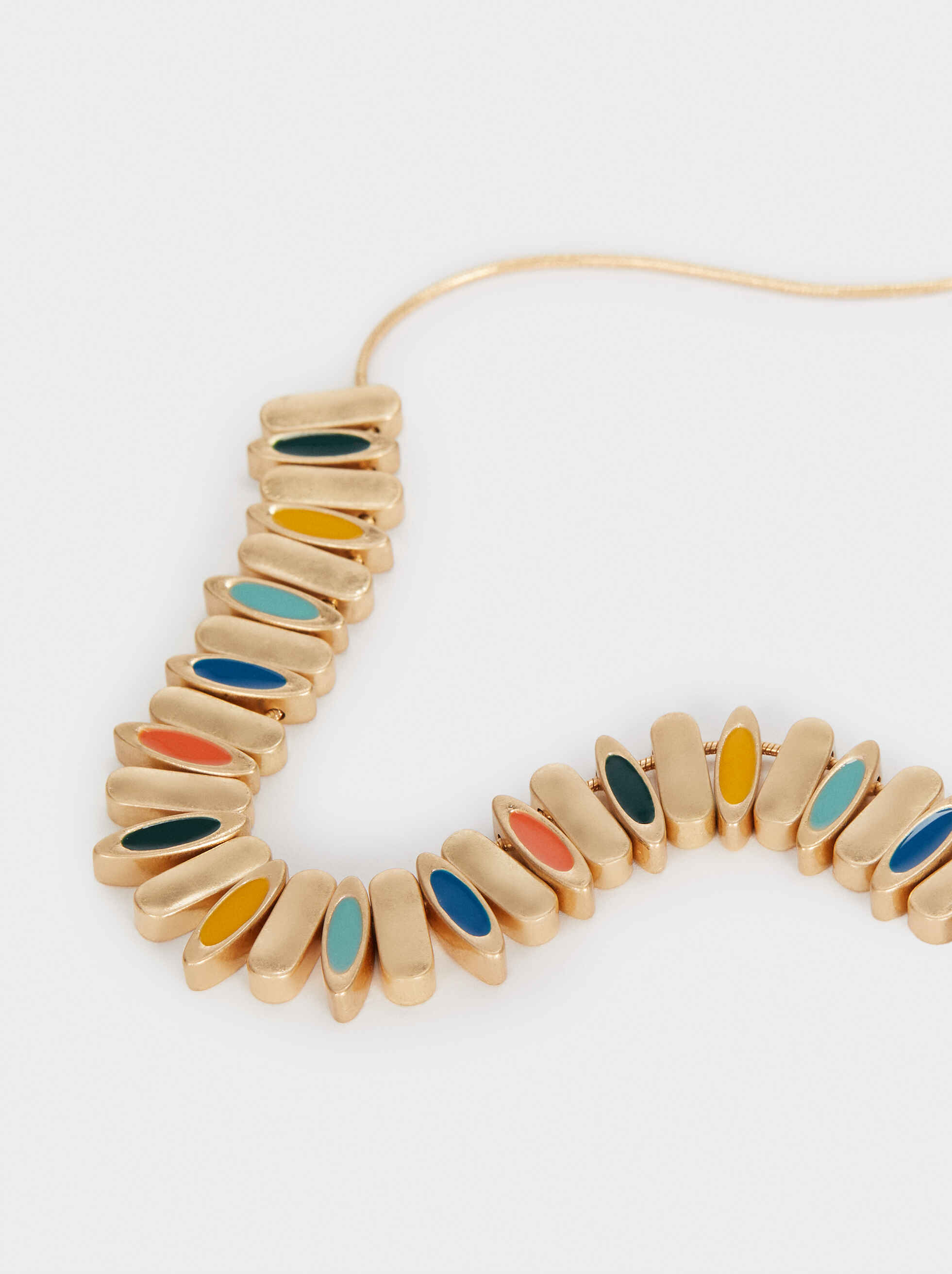 Short Gold Necklace With Beads, Multicolor, hi-res