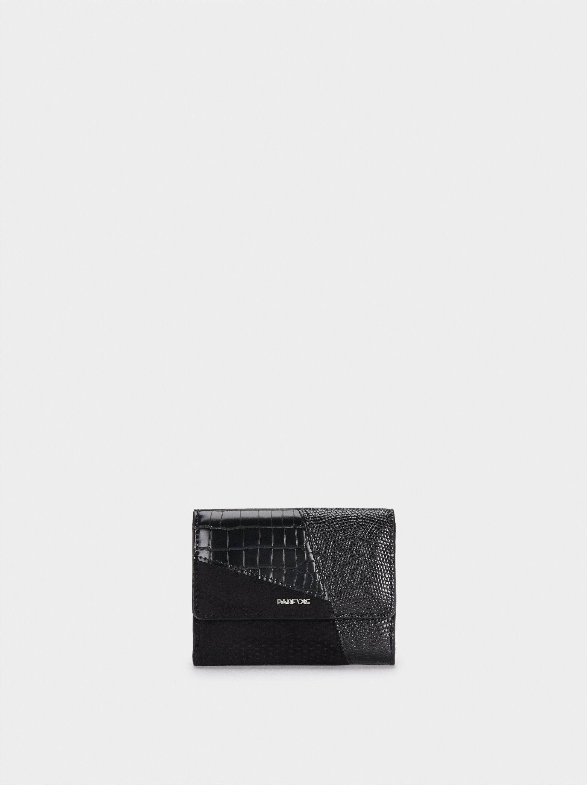 Patchwork Design Purse, Black, hi-res