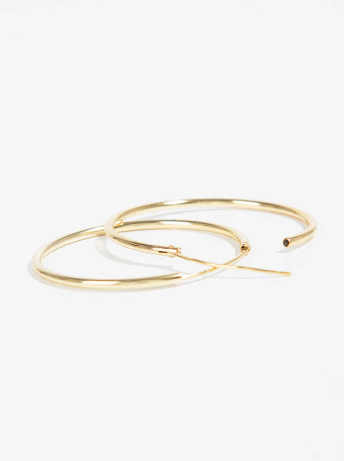 925 Sterling Silver & Gold Plated Short Hoop-Earrings, Golden, hi-res