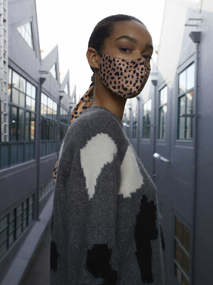 Animal Print Reusable Face Mask, Beige, hi-res